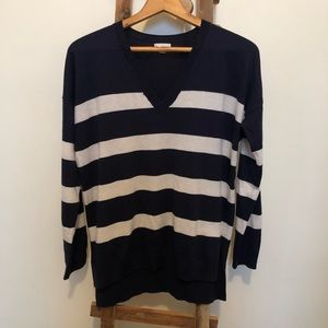 Navy and White Striped Vneck Sweater